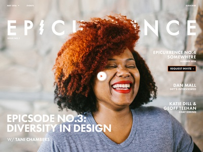 New Epicurrence.com (Coming Soon) epicurrence home page epic event conference diversity landing page video magazine interface website homepage
