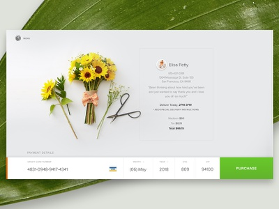 Bloomthat.com Credit Card Form flowers purchase forms checkout credit card form credit card e-commerce shopping