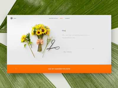 Bloomthat.com Handwritten Note simple clean foliage note interface big button flowers e-commerce