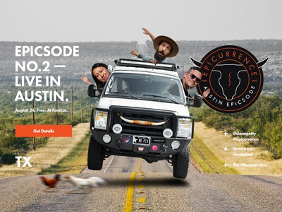 Epicsode No.2 — Live in Austin epicurrence home page homepage big photo announcement landing page website badge logo conference event