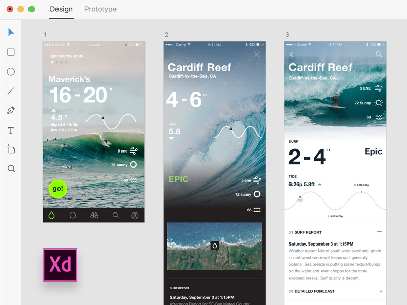 Adobe Xd — Onshore Surf Stats tide surf adobe xd ux ui iphone app