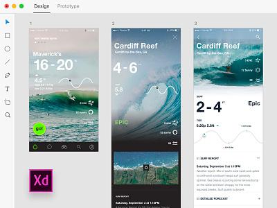 Adobe Xd —Onshore Surf Stats tide surf adobe xd ux ui iphone app