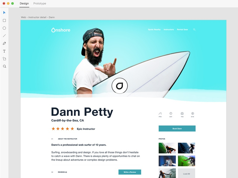 Onshore —Photography interface website adobe xd sony surf app photography