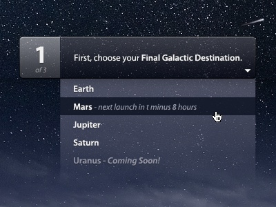 Choose your Final Galactic Destination ui button drop down space