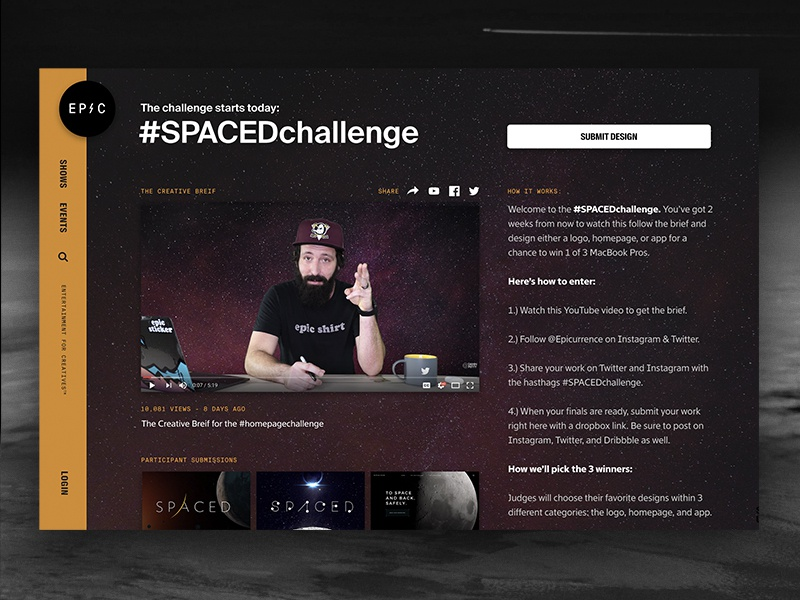 Join the #SPACEDchallenge (Winners get MacBook Pro) announcement homepage space contest branding app website logo challenge
