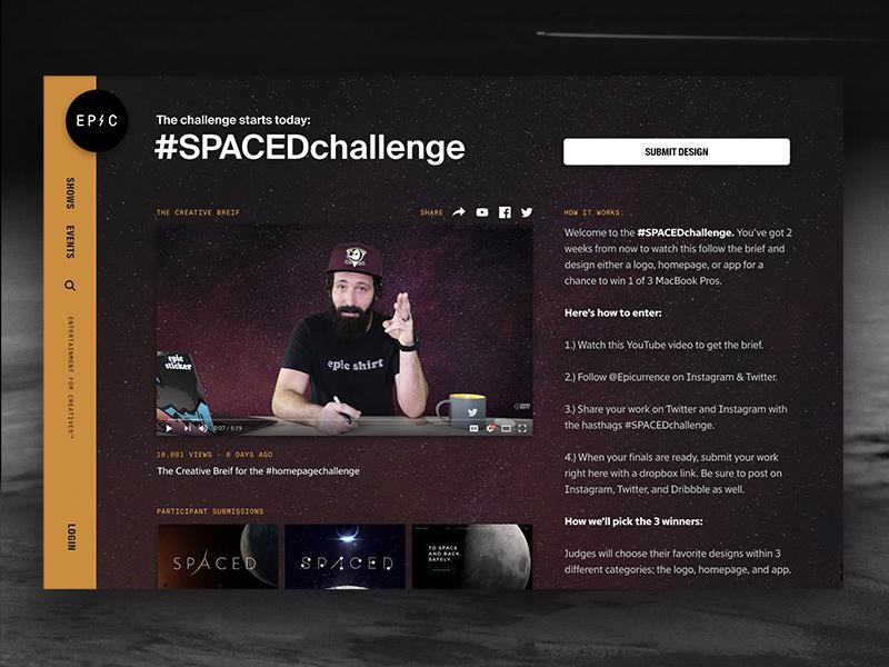 Join the #SPACEDchallenge (Winners get MacBook Pro) announcement homepage space contest branding app website logo challenge