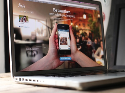 Pair's new homepage landing page hand writting home page homepage iphone app full screen photography blur video pair download ui