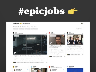 Epic Jobs - Know who's hiring you hand emoji epic twitter tweet office tour video job board opportunities jobs website homepage interface ui