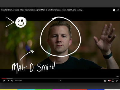 Greater than Avatars: Matt D. Smith's work, health, + family. story invision youtube episode film video