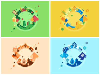 Seasons update color palette seasons flat vector logo design
