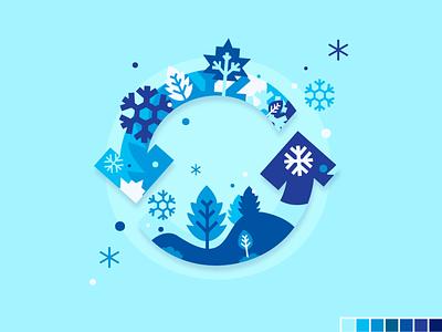 Seasons update - Winter design flat color palette motion illustration