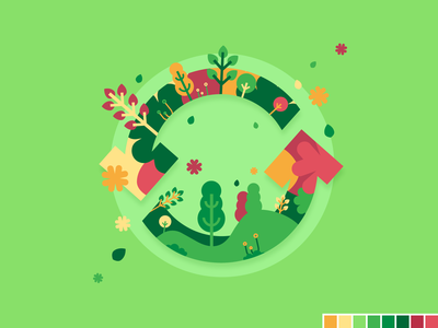 Seasons update - Spring motion color palette seasons flat illustration design