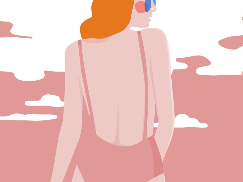 Swim curves sketch love sea food sky swimsuit holidays summer sea ginger redhead colors palette illustrator pink vector illustration design colors coloful ai