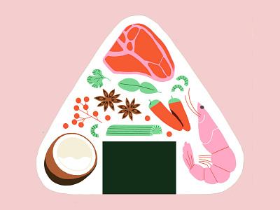 PUZO coconut beef shrimp japanese food japanese food illustration foodillustration food drawing digital art procreate ipadpro illustration
