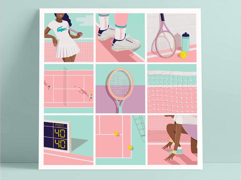 The Alphabet of tennis alphabet tennis illustration tennis drawing digital art procreate ipadpro illustration