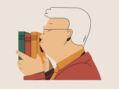 Booklover portrait read books character illustration characterdesign ipadpro procreate illustration