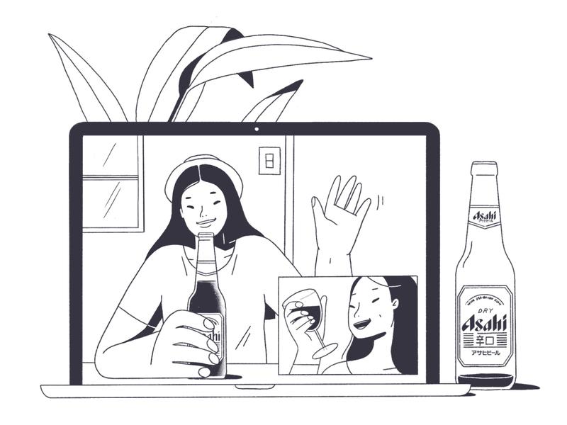 On-nomi character illustration characterdesign drawing digital art procreate ipadpro online illustration solutions japanese pandemic pandemicpanic coronapanic online drinking onnomi