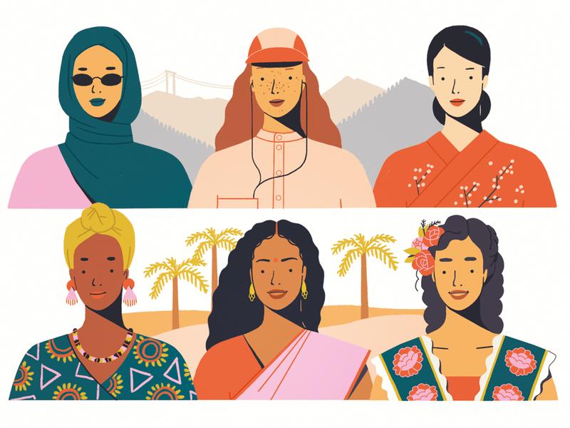 International Women's Day 2020 outline females women girl character illustration characterdesign digital art procreate ipadpro illustration