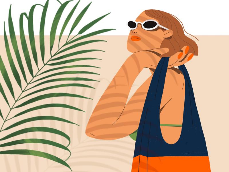 Vacation mode figuredrawing sunglasses character nature girl character illustration characterdesign drawing digital art procreate ipadpro illustration