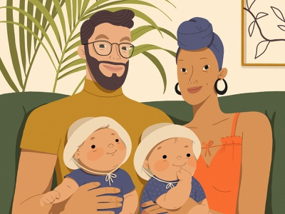 Family portrait portraits characters characterdesign character illustration digital art procreate ipadpro illustration