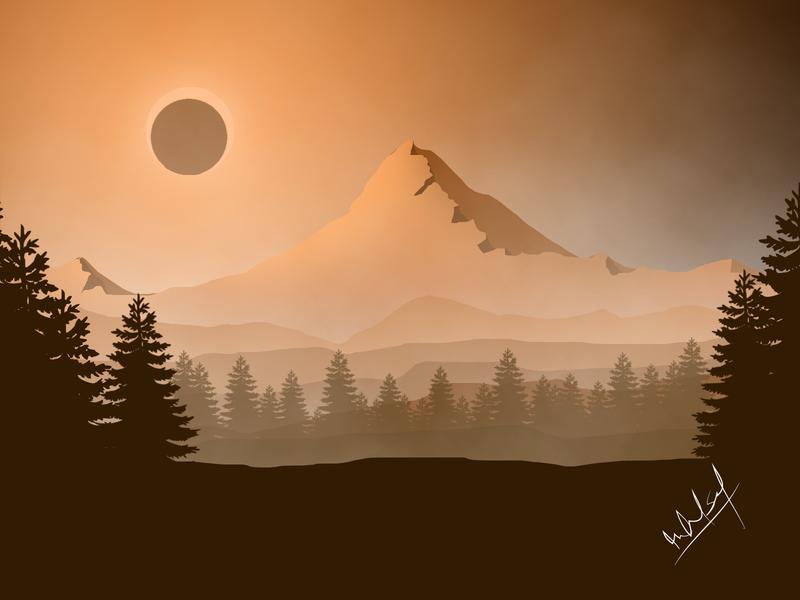 Solar Eclipse is Happening .... Landscape nature Vector Art vector illustration art graphicdesign flatdesign design adobe illustrator flat illustration illustration landscape illustration vectorart vector landscape