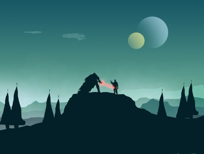 Star War Fan Landscape Vector Illustration fantasy fanart starwars backgrounds design background art vector landscape illustration branding illustration logo