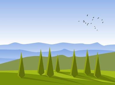 Country Hill Top Landscape Vector art art illustration art illustrator landing page mountain hill landscape design landscape illustration landscape adobe illustrator flat illustration vector illustration