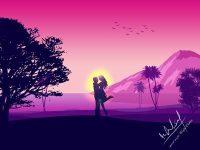 Romantic Vector Landscape art