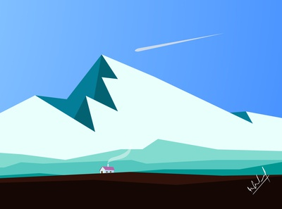 Winter End  Era - Landscape vector Illustration