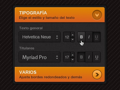 Accordion panel accordion orange buttons dark panel menu