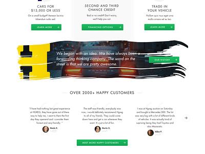 HGreg redesign dealership cars landing page marketing site green web website