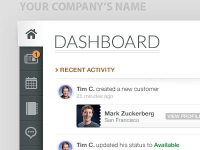 Application Menu menu dashboard app web timeline