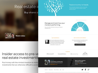 Homepage for Real Estate Marketplace homepage blue clean