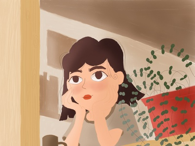 Girl in the Window adobe digital painting digital art drawing sketch character design stayhome character illustration