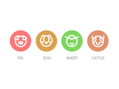Pig  Dog  Cow  Sheep