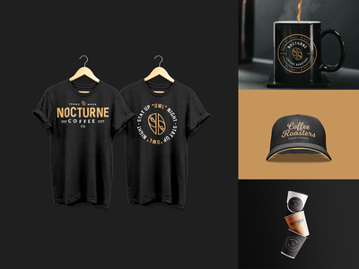 Merchandise Design For Nocturne Coffee mockups product packaging packaging coffee lockup typography logotype badge logomark logo design design branding vector logo illustration