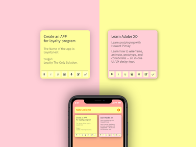 Sticky Widget adobexd iphone ui flat @daily-ui design notes app reminder sticky notes notes widget