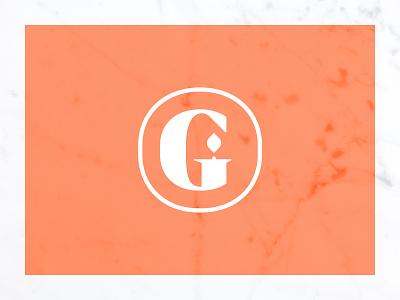 Light golden gate candle brand mark monogram illustration branding design logo icon