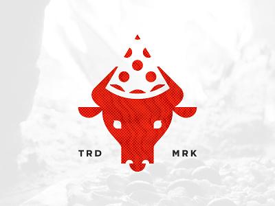 Pizza Cow cow pizza trademark graphic design logo design negative space vector branding design brand logo icon illustration