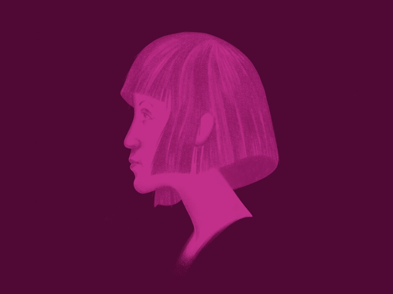A Portrait in Purple profile portrait photoshop sketch photoshop illustration