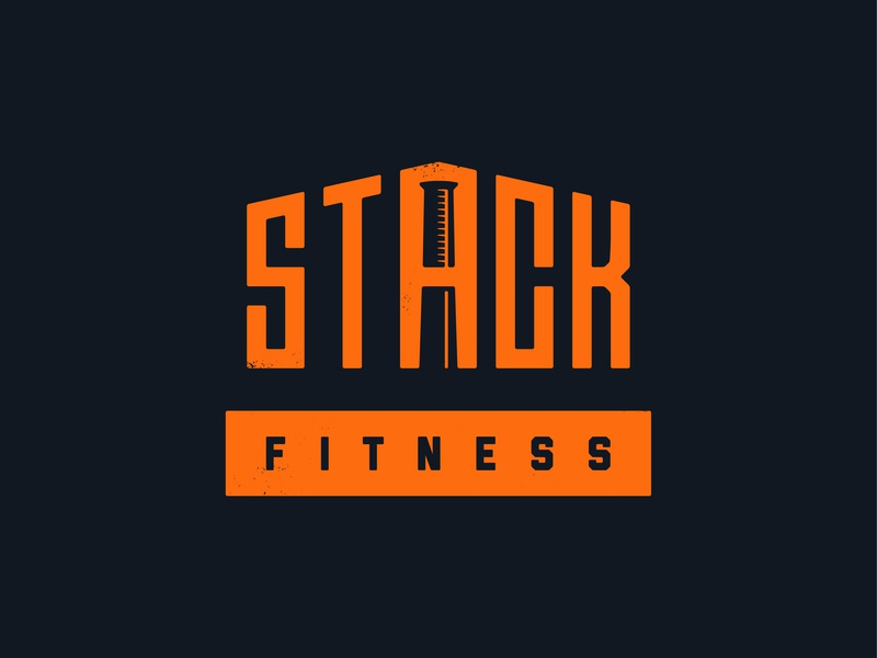 Stacked 01 gym fitness club fitness texture logo branding vector design