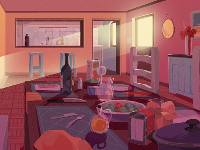 A meal room interior home house perspective animation enviroment shadow light dawn table food meal dinner kitchen background digital art illustration