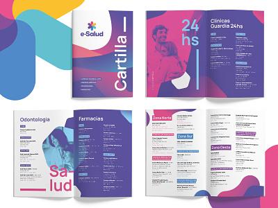 e-Salud medical chart medicina typography editorial informative medicine cartilla youth insurance health combination blue magenta purple colorful duotone color logo identity flat branding