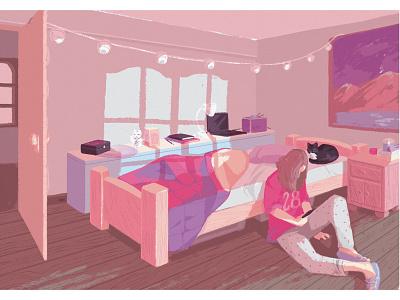 Dorm home wood girl cat light environment pink perspective digital art illustration drawing dorm bedroom