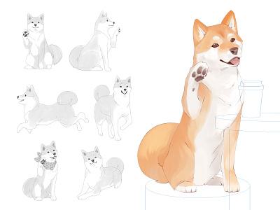 Shiba Inu mascot concept fur animal poses clip studio paint draft character concept shibainu dog mascot digital art illustration