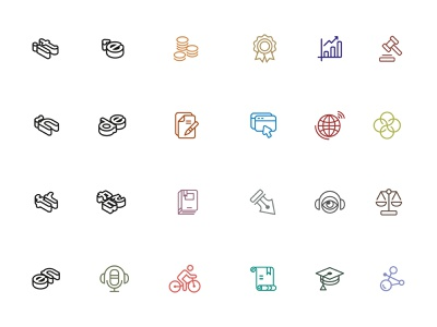 Commitees icons groups branding lined flat logo design ui vector icon identity