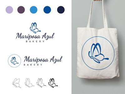Mariposa Azul Bakery - Branding food animal insect line bakery butterfly blue illustration icon logo branding