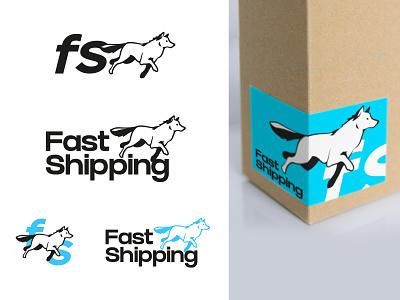 Fast shipping - Branding service cyan line fast packaging shipping animal wolf dog illustration logo branding