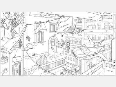Runaway [lineart] drawing flying ship future color download free freebie europe italy venice lineart buildings scifi cars runaway illustration digital art