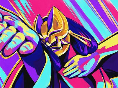 Gold Mask magenta cyan samurai asia japan pose gold saturated mask color colourful illustration digital art